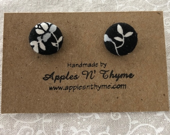 "Fabric button earrings | White/Gray flowers on Black | Surgical Stainless Steel Earring Posts | 1/2"" button size"
