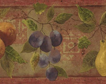 Bountiful of Fruits Wallpaper Border Pear Grape Vines Country Kitchen Wall Decor