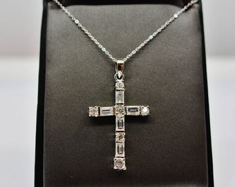 Sterling Silver Big CZ Cross Pendant Necklace