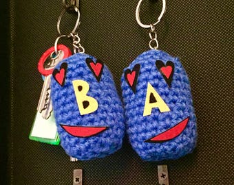 Valentine's day keychain for her and for him initial letters handmade gifts made in italy hand-made colorful of love!