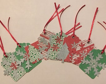 Lot of 8 Beautiful Red, Green and Silver Glitter Handmade Christmas Tags