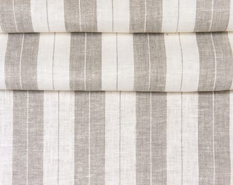 Linen Fabric High Quality Natural Stripes 1meter