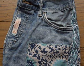 Recycled blue jeans shoulder bag