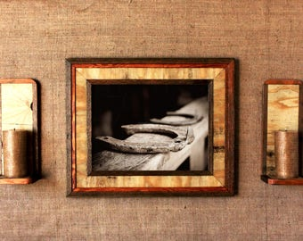"Matching Set: Reclaimed Wood ""Western"" Frame + Candle Holder / rustic frames / rustic wooden frames/ western frame/ rustic candle holder"