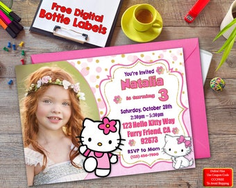 Hello Kitty, Hello Kitty Birthday Invitation, Hello Kitty Photo Invitation, Hello Kitty Bottle Labels, Birthday Invitation, Invitations