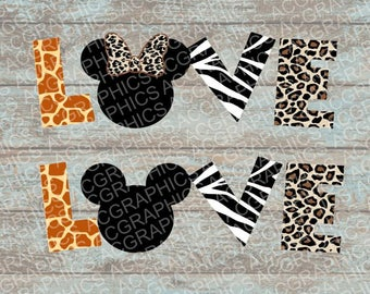 Love Mickey and Minnie Animal Prints SVG, DXF, JPEG, and Studio Downloads
