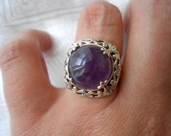 Sterling Silver Amethyst ring / T 55