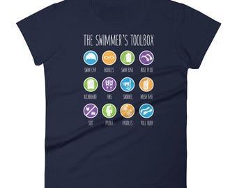 Swimmer Gift - Swimmer's Toolbox, Fun Swimming Women's short sleeve t-shirt, Gift For Swimmer, Swimming Gift, Swim T Shirt, Swimmer Shirt
