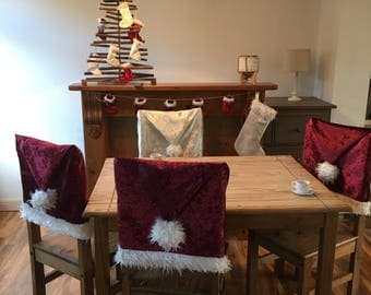 Christmas/ Thanksgiving/ winter chair hat covers made with crushed velvet