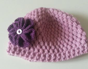 Hat 6/9months purple and purple (can make in other sizes & color)