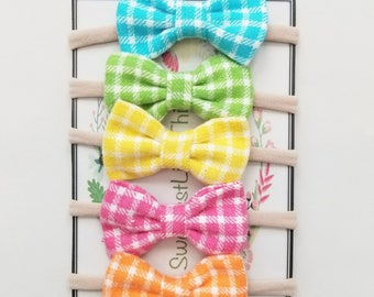 Spring Bow Set. Alligator clips or nylon headbands. Butterfly bow or Brooklyn bow.