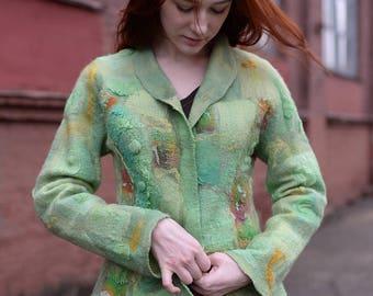 Pistachio Felted Jacket | Felted Clothing| Green Felted Jacket| Nuno-felt jacket