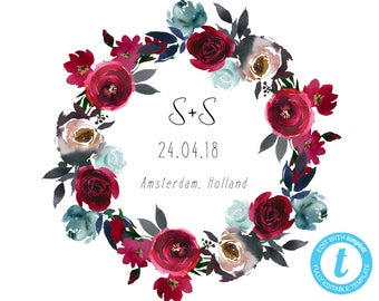 Wedding Wreath Monogram, Wedding Monogram, Personalized Wedding Monogram, DIY Wedding, Editable Monogram, Wedding Logo, Navy Burgundy