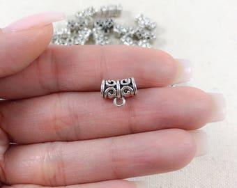 10 Tribal Silver Bails | Antique Silver Bails | Jewelry Bails | Spacer Beads  | Bracelet Bails | Wholesale Bails | 11x9mm SB228