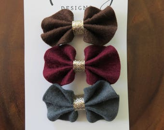 Brown, Wine, and Gray Felt Ruffle Bow Hair Clip Set