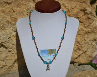 turquoise and chocolate Teddy bear necklace