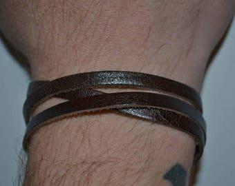 brown leather bracelet for men