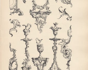 French Arcitecture Print Ornements Rocaille Pre 1925 (29)