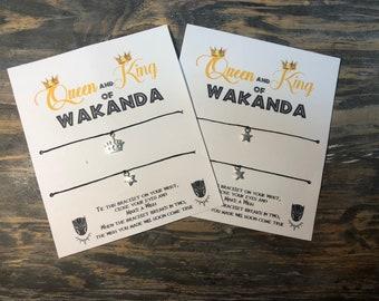 King and queen of wakanda wish bracelet.wakanda jewelry.His and her bracelet.King and Queen wish bracelet.Couples bracelet.