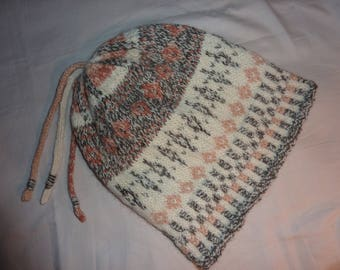 Fair Isle hat, wool, hand knitted  'winter white' with tweed effect