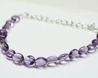 """Natural Brazil Amethyst Oval briolette Tumbles Strand Bracelet 34 Carats , 6"""" Inches Strand, Size- 7x9 MM Approx Code-HN44"""