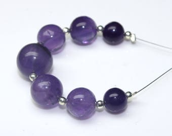 Natural African Amethyst Balls with Drill 7 Pcs Size-7 MM To 10 MM 30 Carat  Jewelry Making Gemstone