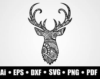Deer Zentangle Etsy