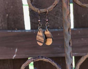 Teardrop Zebra Wood Dangle Earrings, Natural, Boho, Minimalist
