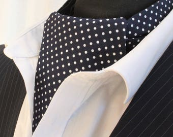 Cravat Ascot. UK Made. Navy Blue Polka Dot. Cravat & Hanky.Premium Cotton