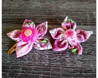 Fabric Flower Hairclip Pink Floral Print