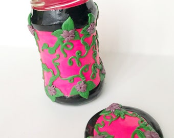Purple Flowers on Pink/Black Polymer Clay Jar