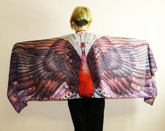 Wing Scarf, Poly Silk scarf,Long Scarf, Art, Summer Scarf,Wrap Scarf,Wing Shawl,Art Scarf,Gift for Her,Unique,Wing on Wrap,Over Size Scarf