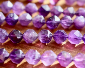 6mm Faceted Amethyst, half strand, natural stone beads, round