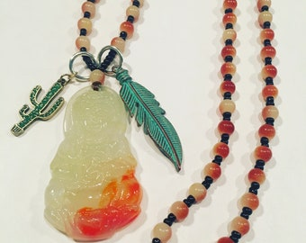 Buddha, Feather and Cactus Necklace