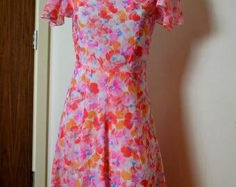 Vintage 1980s pink floral dress