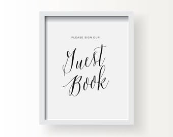 8x10_Black on White Wedding_Guest Book Sign