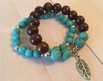 Turquoise + Wood 2-pc bracelet set w/silver tone leaf charm