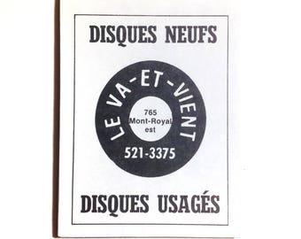Large Fridge Magnet 'Le Va-et-Vient Montréal' DJ Gift Musician Gift Vinyl Collector Gift Vintage Montreal 80's Memorabilia Music - NO QC-20