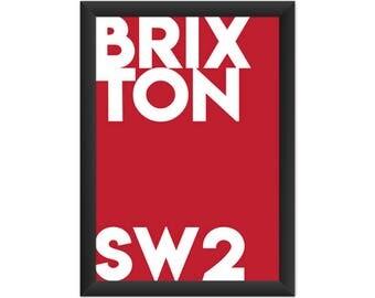 Brixton Typography SW2 - Giclée Art Print - South London Poster