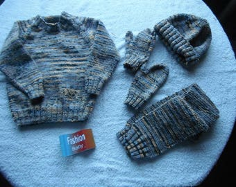 """hand knitted child size 22-24"""" chest jumper hat mittens and scarf set new just knitted"""
