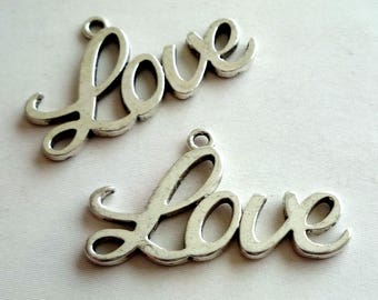"""Set of 2 large charms / pendants """"Love"""" - silver"""