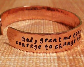 Serenity Prayer Cuff Bracelet; Serenity Prayer Jewelry; Recovery Jewelry