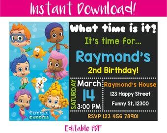 Bubble Guppies Invitation, Bubble Guppies Birthday Invitation, Bubble Guppies Birthday, Bubble Guppies Party, Bubble Guppies Printable, PDF
