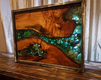 Live edge epoxy wall art.