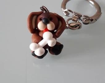 Dog Keychain with bone Fimo