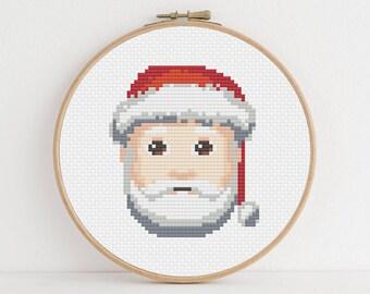 Pale Skinned Santa Emoji Counted Cross Stitch Pattern: Digital Download