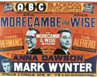 Set of 2 fridge magnets 7.5 cm x 4.5 cm      Morecambe and wise Eric and Ernie
