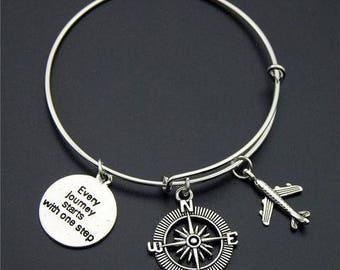 Silver Wanderlust Bangle Version (6) *FREE SHIPPING* Travel Jewellery, Travel Gift, Wanderlust Jewellery, Adventure Bracelet