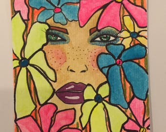 ACEO. Hand painted. Flowers, face,bright colors