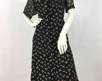 80s maxi dress/1980s sunflower midi dress